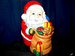 Christmas Here Comes Santa Cookie Jar