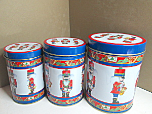 Christmas Soldier And Nutcrackers Tin Canister Set
