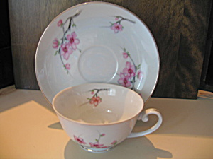 Diamond China Cherry Blossom Cup And Saucer Set