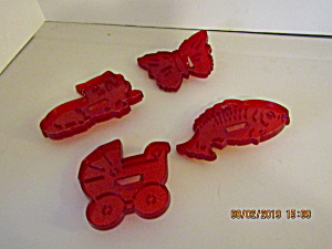Vintage Hrm Red Plastic Cookie Cutter Set