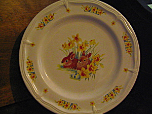 Domestication Dinner Plate Rabbits & Flowers
