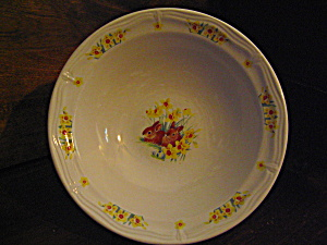Domestication Cereal Bowl Rabbits & Flowers