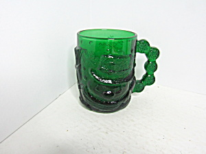 Vintage Snowman Emerald Green Heavy Glass Mug
