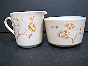 Corelle Cornerstone China Blossom Sugar And Creamer Set