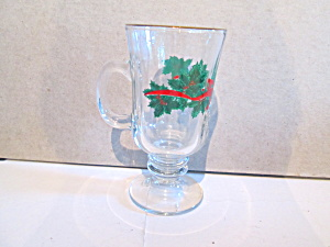 Libbey Christmas Leaf & Ribbon Pedestal Glass Mugs