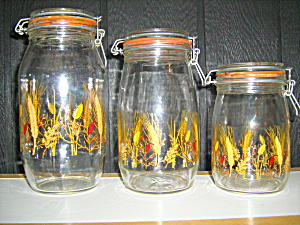 Wheet Set Of 3 Glass Canisters Made In France