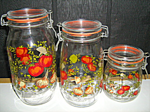 Veggie Set Of 3 Glass Canisters Made In France