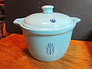 Vintage Cronin Pottery Blue Tulip Bean Pot Cassorole (Image1)