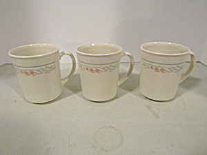 Vintage Corelle Rose Coffee Cup Set Of 3
