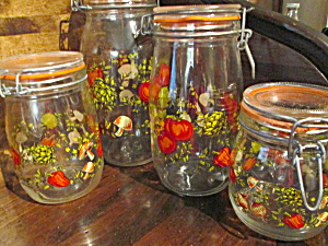 Veggie Glass Canning Jar Canister Set Made In France