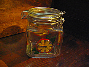Glass Canning Jar Hand Painted Daisy Storage Canister