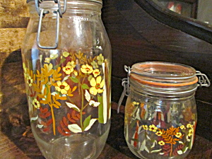 Vintage Floral Glass Jar Canister Set Made In France