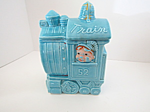 Vintage Blue Train Engine Cookie Jar #52