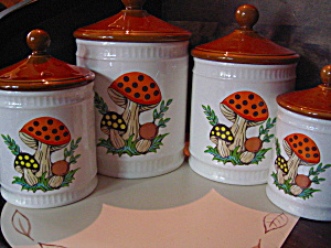Vintage Merry Mushroom Canister Set By Sears