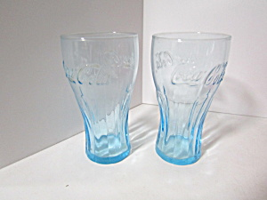 Vintage Coca-cola Electric Blue Aqua Soda Glass