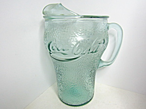 Vintage Handled Coca-cola Green Textured Pitcher