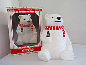 Coca Cola Christmas Bear Cookie Jar 1994.