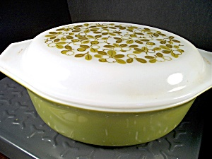 Vintage Corning Pyrex Verde Oval Covered Casserole