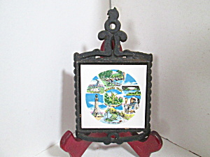 Vintage Cast Iron/ceramic Mohawk Trail Trivet