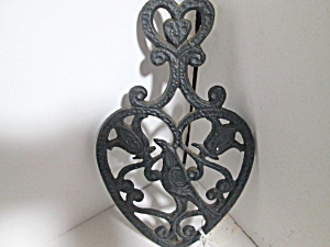 Vintage Cast Iron Bird & Tulip Wall Hanging Trivet