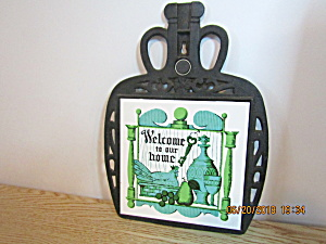 Vintage Cast Iron Welcome To Our House Trivet