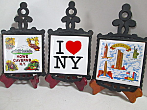 Vintage Cast Iron/ceramic New York Wall Hanging Trivets