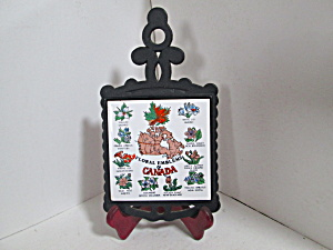 Cast Iron/ceramic Flower Emblems Of Canada Trivet