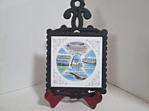 Vintage Cast Iron/ceramic St. Louis Wall Hanging Trivet