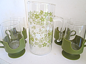 Corning Pyrex Spring Blossom Green Sip N Serve Set