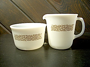Vintage Pyrex Woodland Brown Creamer/open Sugar Set