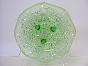Vintage Green Depression Frosted Edge Bowl