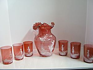 Vintage Fenton Mary Gregory Cranberry Water Set