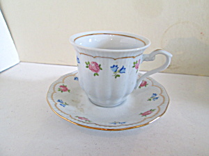 Crystal Clear Floral Design Small Cup & Saucer Set