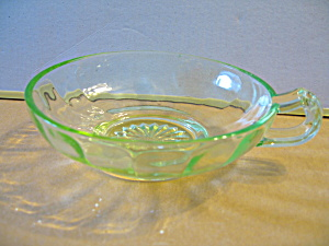 "Vintage Clear Green Depression Glass 6"" Nappy"