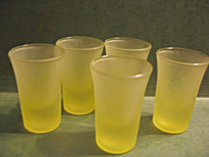 Vintage Frosted Green/yellow Shot Glasses
