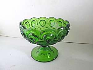 Vintage Green Moon & Stars Pedestal Candy Dish