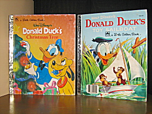 Golden Book Donald Duck'stoy Sailboat & Christmas Tree