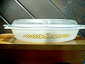 Vintage Corningpyrex Divided Casserole Dish Royal Wheat