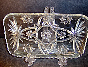 Anchor Hocking Crystal Pressed Cut Relish Tray