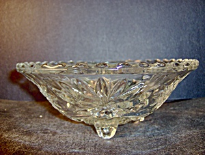 Anchor Hocking Crystal Pressed Glass Footed Candy Bowl