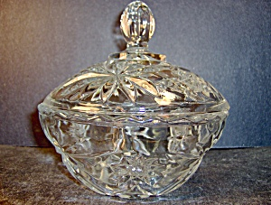Anchor Hocking Crystal Pressed Cut Glass Coverd Bowl