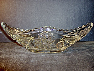 Anchor Hocking Crystal Pressed Cut Glass Gondala Dish