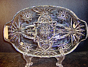 Anchor Hocking Crystal Presse Glass Divided Relish Dish