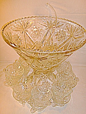 Anchor Hocking Crystal Glass Punch Bowl Set