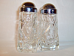 Anchor Hocking Crystal Pressed Cut Glass Salt & Pepper