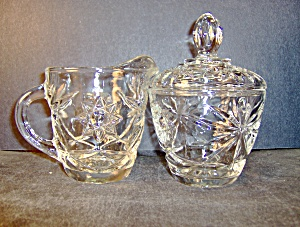 Anchor Hocking Crystal Pressed Glass Creamer &sugarbowl