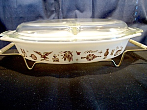 Vintage Corning Pyrex Early American White Divided Dish