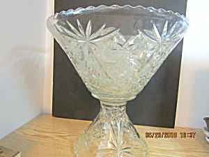 Anchor Hocking Eapg Crystal Glass Punch Bowl Set