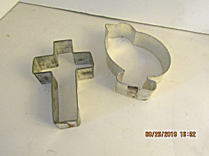 Vintage Chicken & Cross Metal Easter Cookie Cutters