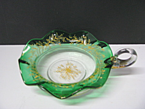 Vintage Glass Green Gold Trim Handled Nappy